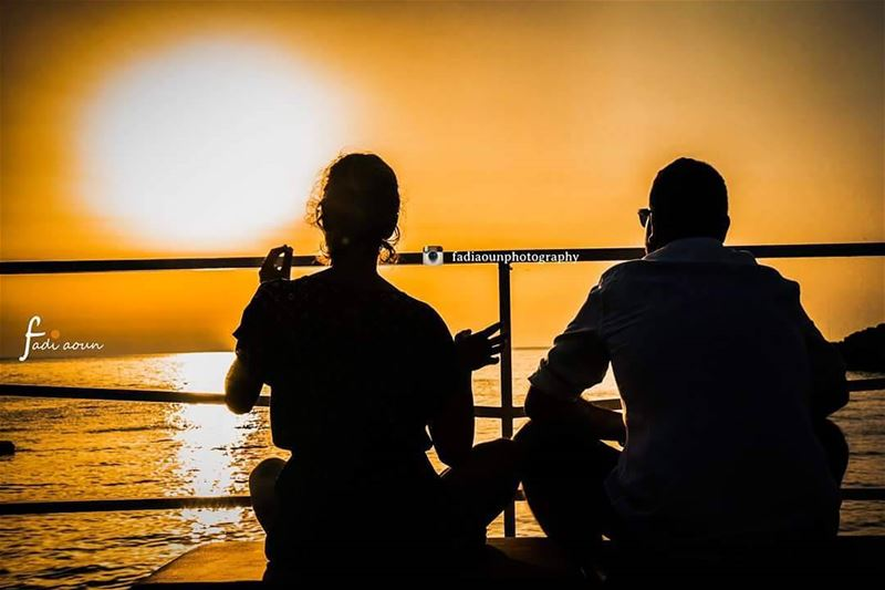 photo  fadiaounphotography  Sunset  Lebanon  silhouettes  man  woman  sea...