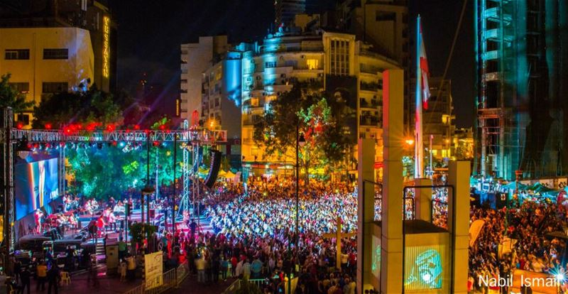 "Hundred of people attend the ""Live Achrafieh"" festival in Sassin square, Beirut, Lebanon. (Nabil Ismail)"