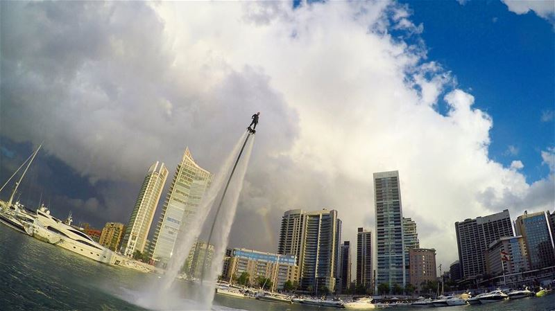 YOUR ATTITUDE IS YOUR ALTITUDE it determines how HIGH you FLY  flyboard ... (Zaytouna Bay Beirut)