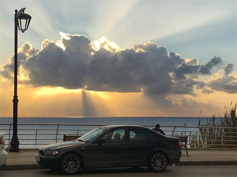 Rays of Hope  sea  ocean  walk  sports  beirut  cloud  rays  sun ... (Grand Café)