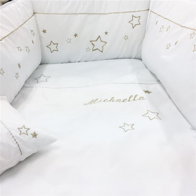 Look how they shine for you ✨ Bed set & cushions! Write it on fabric by...