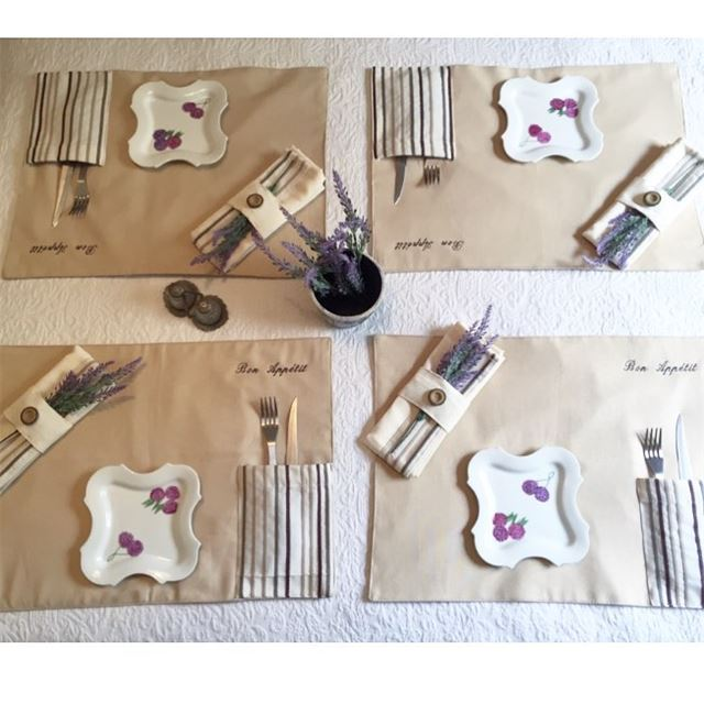 Bon appetit 🍽 table setup! Write it on fabric by nid d'abeille ...