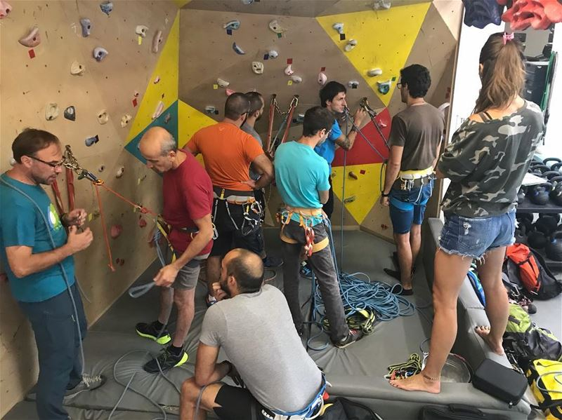 Practicing after the theoretical session in the Multi-pitch and rescue... (Beirut, Lebanon)