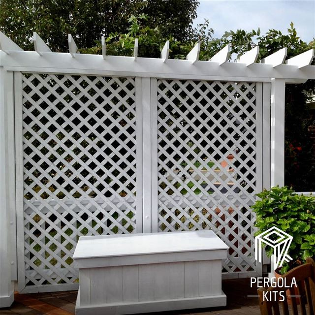 Lattice privacy Wall Kits in White.  CustomizeNow  PergolaKitsLebanon....