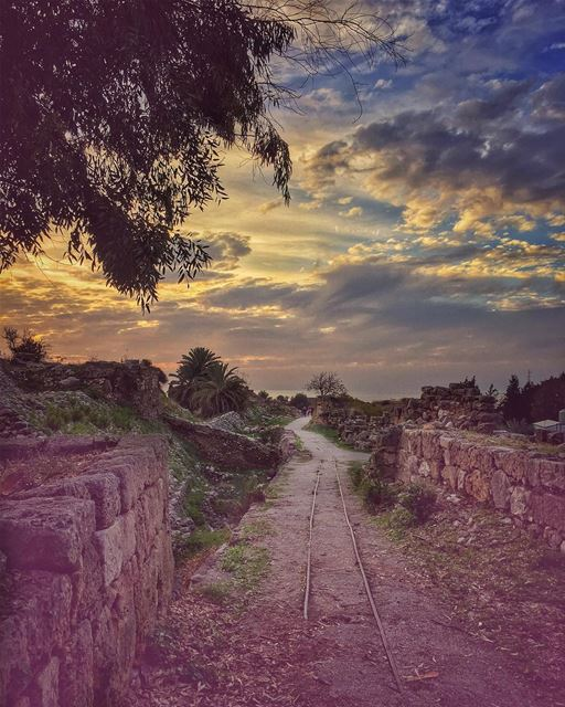 Paved roads in a remote world, dreams afloat silhouettes on sunset... (Byblos, Lebanon)