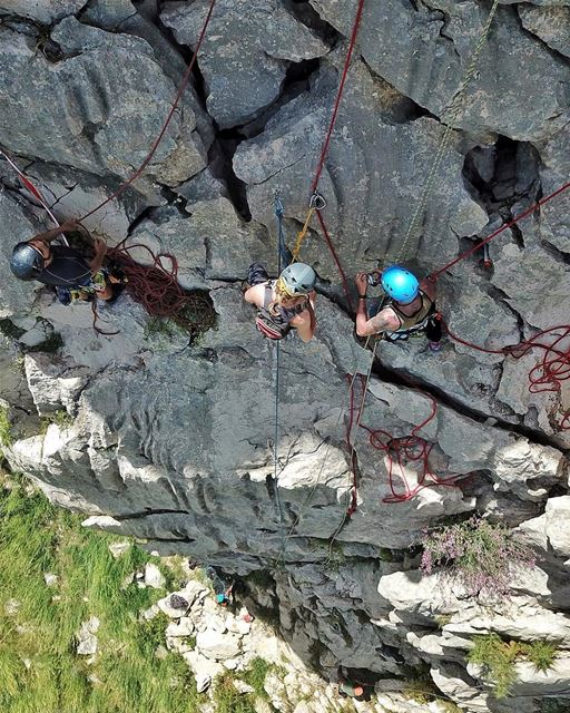 On the middle pitch, belaying from top, such a successful training just...