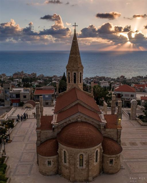 Blessed sunset 💒🌅...  lebanon  batroun  north  dji  drones ... (Kfar Abida)