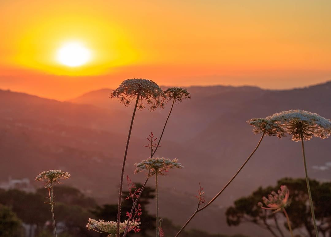 Sunset mountains sky landscape nature beautiful sightseeing... (El Qrayé, Mont-Liban, Lebanon)
